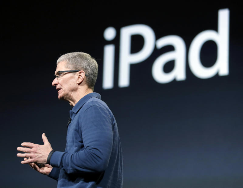 Apple CEO Tim Cook speaks during an event to announce new products, including the iPad mini, in San Jose, Calif., Tuesday, Oct.  23, 2012.  Apple Inc. is refusing to compete on price with its rivals in the tablet market, it's pricing its new, smaller iPad well above the competition. On Tuesday, the company revealed the iPad Mini, with a screen that's about two-thirds the size of the full-size model, and said it will cost $329 and up. (AP Photo/Marcio Jose Sanchez)