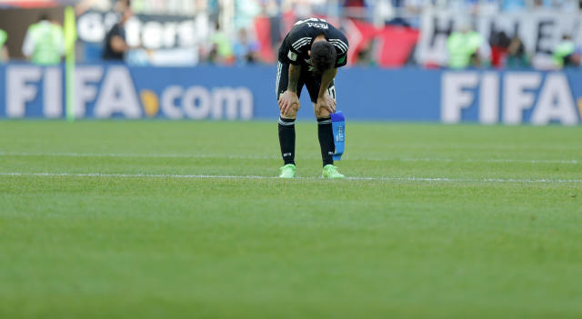 Argentina's Lionel Messi looks down at the end of the group D match between Argentina and Iceland at the 2018 soccer World Cup in the Spartak Stadium in Moscow, Russia, Saturday, June 16, 2018. (AP Photo/Ricardo Mazalan)