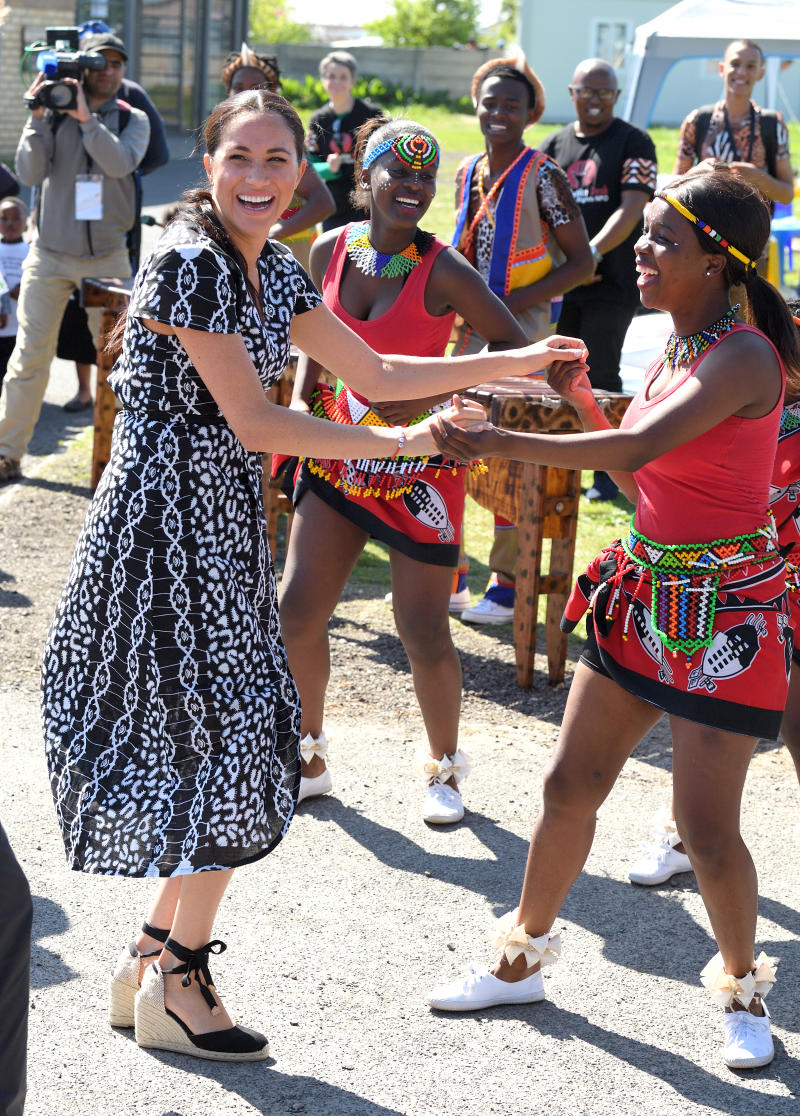 Meghan, Duchess of Sussex visits the Nyanga Township with Prince Harry, Duke of Sussex during their royal tour of South Africa