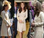 <p>Middleton has worn this gold Jane Troughton coat publicly three times: in 2006, 2011, and in 2012. </p>