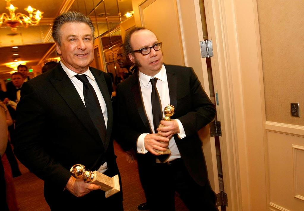 "Alec Baldwin and Paul Giamatti hit up the after parties armed with their best actor trophies. Michael Buckner/<a href=""http://www.gettyimages.com/"" target=""new"">GettyImages.com</a> - January 11, 2009"
