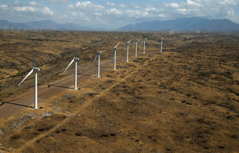 FILE PHOTO: An aerial view of power-generating wind turbines at the Lake Turkana Wind Power project in Loiyangalani district, Marsabit County