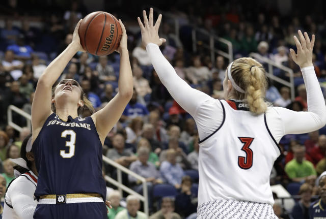 Notre Dame's Marina Mabrey, left, shoots over Louisville's Sam Fuehring, right, during the second half of an NCAA college basketball game in the championship of the women's Atlantic Coast Conference tournament in Greensboro, N.C., Sunday, March 4, 2018. (AP Photo/Chuck Burton)