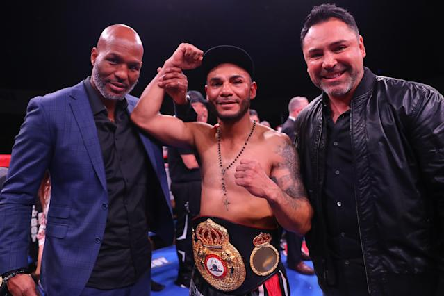 Andrew Cancio celebrates his win by KO over Alberto Machado (not pictured) during their WBA super featherweight title bout at Fantasy Springs Casino on Feb. 9, 2019 in Indio, California. (Getty Images)
