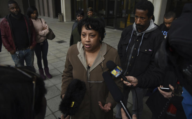 Rhanda Dormeus, the mother of Korryn Gaines, speaks to the media on Friday, Feb. 16, 2018 in Towson, Md.  The family of Korryn Gaines, who was fatally shot by police two years ago may never receive the entire $37 million it was awarded in a lawsuit this week. Maryland has a cap on local governments' liabilities in such cases, and judges have a tendency to lower large awards on appeal.  Legal experts say that it's unlikely the young son of Korryn Gaines and other relatives will see all the money awarded Friday.  (Barbara Haddock Taylor/The Baltimore Sun via AP)