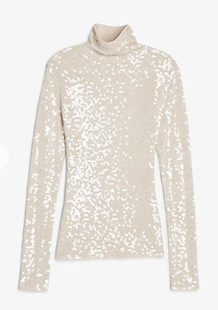<p>This <span>Express Sequin Mock Neck Long Sleeve Tee</span> ($34, originally $68) looks so much more expensive than it is.</p>