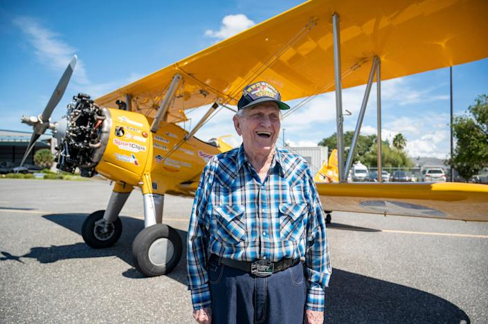 """World War II veteran and Eustis, Florida resident John """"Papa John"""" McCrary, 92, was invited to ride in a restored WWII Boeing-Stearman which was used to train pilots for WWII through the Dream Flights national program."""