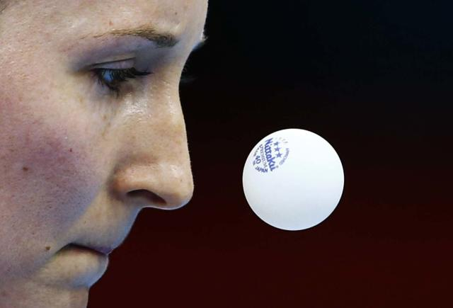 Britain's Joanna Parker serves to Brazil's Caroline Kumahara during their women's singles first round table tennis match in the ExCel venue at the London 2012 Olympic Games July 28, 2012. REUTERS/Grigory Dukor (BRITAIN - Tags: SPORT OLYMPICS SPORT TABLE TENNIS TPX IMAGES OF THE DAY)