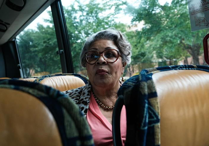 """Rep. Thompson on a bus during an interview with a journalist in Washington, D.C., on July 16.<span class=""""copyright"""">Michael A. McCoy for TIME</span>"""