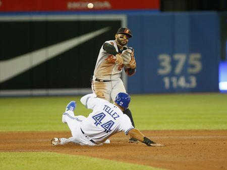 Apr 1, 2019; Toronto, Ontario, CAN; Toronto Blue Jays designated hitter Rowdy Tellez (44) tries to break up a double play by Baltimore Orioles second baseman Jonathan Villar (2) during the seventh inning at Rogers Centre. Baltimore defeated Toronto. Mandatory Credit: John E. Sokolowski-USA TODAY Sports