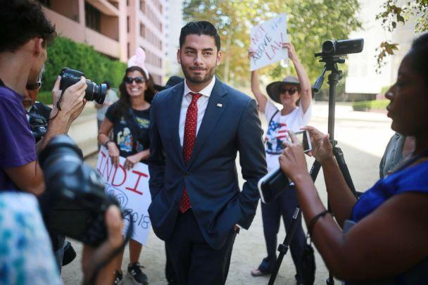 PHOTO: Ammar Campa-Najjar, who is running against Congressman Duncan Hunter, speaks to reporters outside the San Diego Federal Courthouse during Congressman Hunter's arraignment hearing, Aug. 23, 2018, in San Diego, CA. (Sandy Huffaker/Getty Images, FILE)