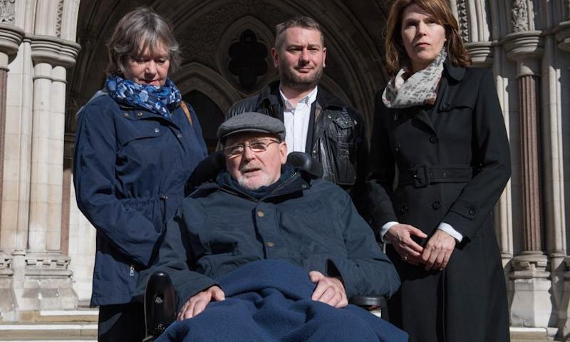 Noel Conway outside The Royal Courts of Justice with his wife Carol (left), stepson Terry McCusker and Sarah Wootton, CEO of Dignity in Dying.
