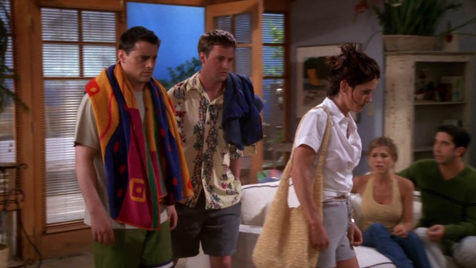 <p> Bonnie or Rachel, Bonnie or Rachel? Two decades on, it&#x2019;s impossible to convey the fervour with which fans awaited this episode, and Ross&#x2019; decision over whether to stick with his current, newly bald flame or go back to Ms Green. The latter wins out, with a hilarious caveat:&#xA0;<em>the letter</em>. &#x201C;You had rambled on for 18 pages &#x2013; front and back!&#x201D; Ross&apos;s continued asserting that &quot;We were on a break!&quot; remains one of the series&#x2019; most repeated lines, while this is the first tease of Chandler and Monica&#x2019;s affection for one another spilling over into something more &#x2013; via the unconventional medium of him urinating on her jellyfish sting.&#xA0; </p> <p> <strong>Best line:</strong>&#xA0;Joey: That&#x2019;s right, I stepped up! She&#x2019;s my friend and she needed help. If I had to, I&#x2019;d pee on any one of you. </p>
