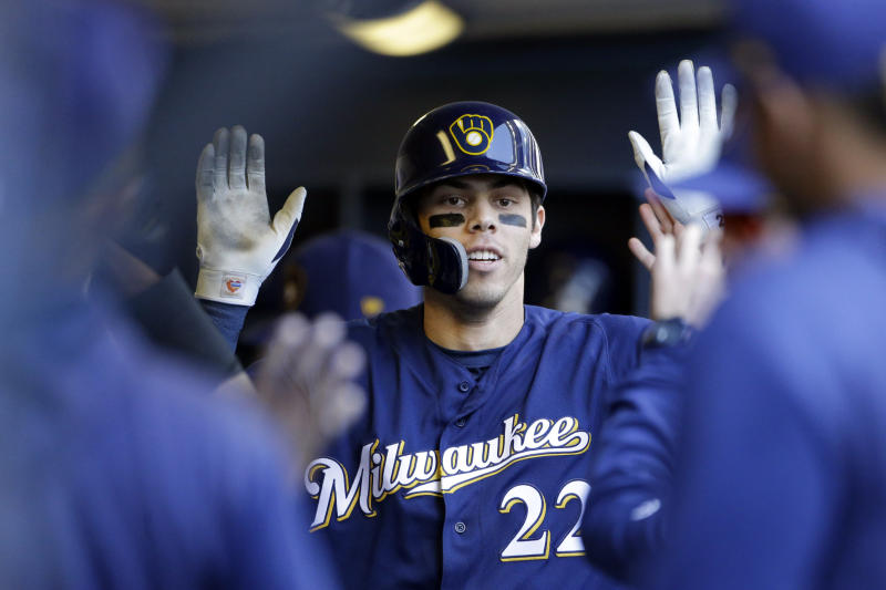 9733fc4ba94 Yelich homers in return as Brewers win to sweep Mets