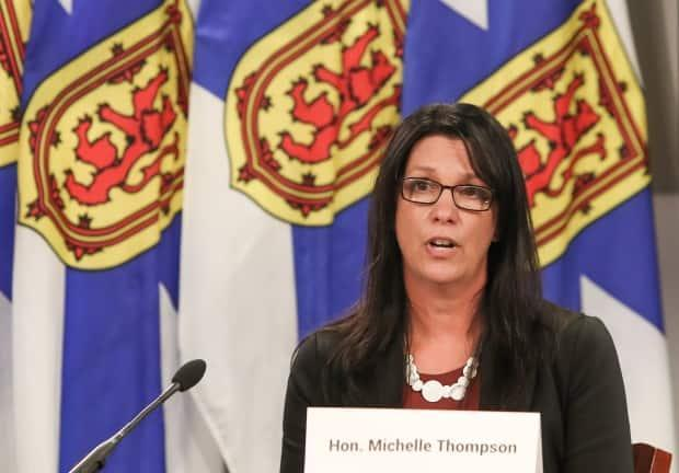 Health Minister Michelle Thompson speaks during a COVID-19 briefing earlier this month. (Communications Nova Scotia - image credit)