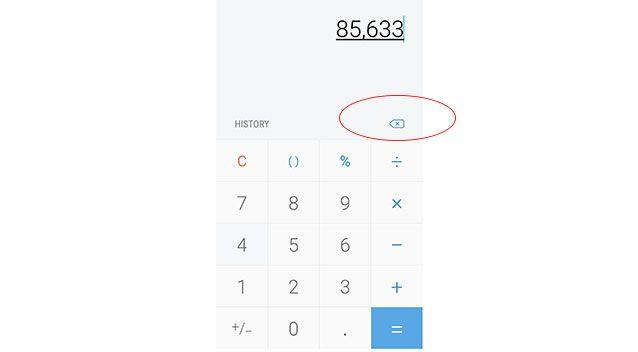 While the iPhone function is hidden, the Samsung Galaxy's calculator app has carried a clearly visible backspace key for years. Picture: 7 News Online