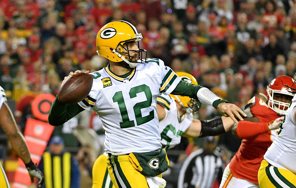 Oct 27, 2019; Kansas City, MO, USA; Green Bay Packers quarterback Aaron Rodgers (12) throws a pass during the first half abasing the Kansas City Chiefs  at Arrowhead Stadium. Mandatory Credit: Denny Medley-USA TODAY Sports