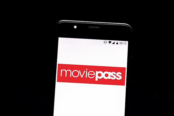 The MoviePass logo on a mobile phone
