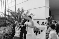 My dad walking me down the aisle. Part of my 10-foot-long train detached while walking towards Amit, but it was the last thing I cared about…I was about to be married to the love of my life!