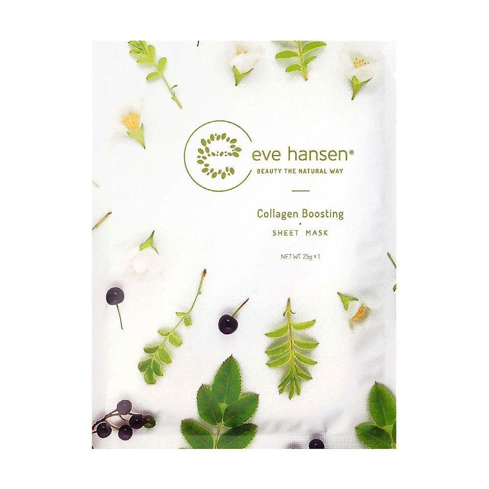 "<p><strong>Eve Hansen</strong></p><p>amazon.com</p><p><a href=""https://www.amazon.com/Collagen-Sheet-Mask-Eve-Hansen/dp/B077FG7VW7?tag=syn-yahoo-20&ascsubtag=%5Bartid%7C2089.g.776%5Bsrc%7Cyahoo-us"" rel=""nofollow noopener"" target=""_blank"" data-ylk=""slk:Shop Now"" class=""link rapid-noclick-resp"">Shop Now</a></p><p>Everyone can benefit from a little skin-plumping collagen. When skin starts looking tired and dull, this Eve Hansen sheet mask restores its glow using only natural and organic ingredients. </p><p>A mix of blueberry, spinach, and tangerine extracts works together to reduce the look of wrinkles and dark spots, in addition to adding hydration and increasing skin's firmness.<br></p>"
