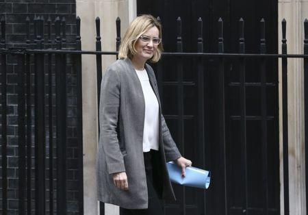Britain's Home Secretary Amber Rudd arrives at 10 Downing Street for a cabinet meeting ahead of the budget in London