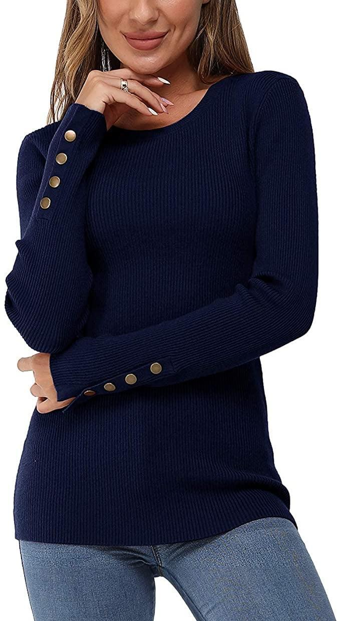 <p>Each color of the ribbed <span>Newshows Solid Knit Crewneck Sweater</span> ($18-$27) has the same pretty gold buttons.</p>