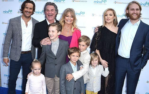 (Back row) Oliver, Kurt Russell, Goldie Hawn, Kate and Wyatt Russell. Source: Getty