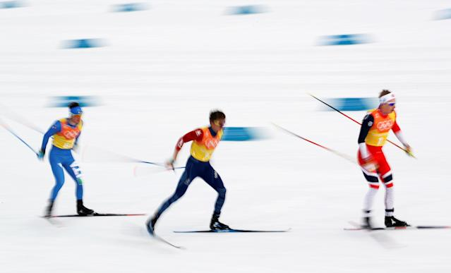 "Cross-Country Skiing - Pyeongchang 2018 Winter Olympics - Men's 4x10 km Relay - Alpensia Cross-Country Skiing Centre - Pyeongchang, South Korea - February 18, 2018 - Simen Hegstad Kreuger of Norway leads. REUTERS/Carlos Barria SEARCH ""OLYMPICS BEST"" FOR ALL PICTURES. TPX IMAGES OF THE DAY."