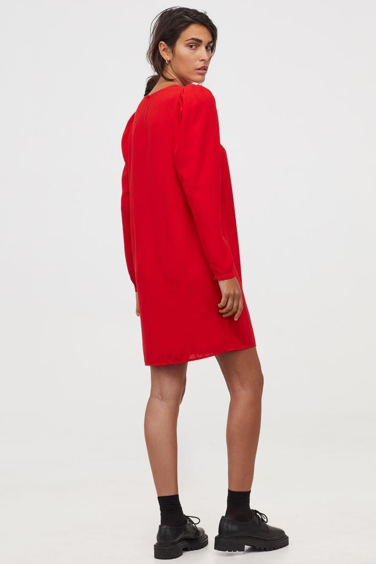 <p>This red <span>H&M Puff-sleeved Dress</span> ($20) is so festive.</p>
