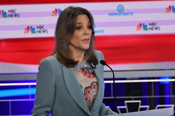Democratic presidential hopeful US author Marianne Williamson speaks during the second Democratic primary debate of the 2020 presidential campaign season hosted by NBC News at the Adrienne Arsht Center for the Performing Arts in Miami, Florida, June 27, 2019.   Saul Loeb—AFP/Getty Images