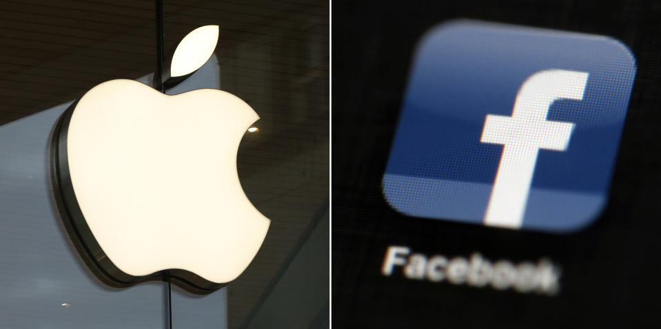"""FILE - This combo of file photos shows the Apple and Facebook logos. Facebook is again pushing back on new Apple privacy rules for its mobile devices, this time saying the social media giant is standing up for small businesses in full page newspaper ads. In ads that ran in The New York Times, The Wall Street Journal and other national newspapers, Facebook said Apple's new rules """"limit businesses ability to run personalized ads and reach their customers effectively."""" (AP Photo/File)"""
