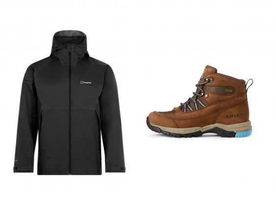If you want to go hiking, make sure you have the best shoes and layering pieces to keep you dry (left, Berghaus, right Ariat)