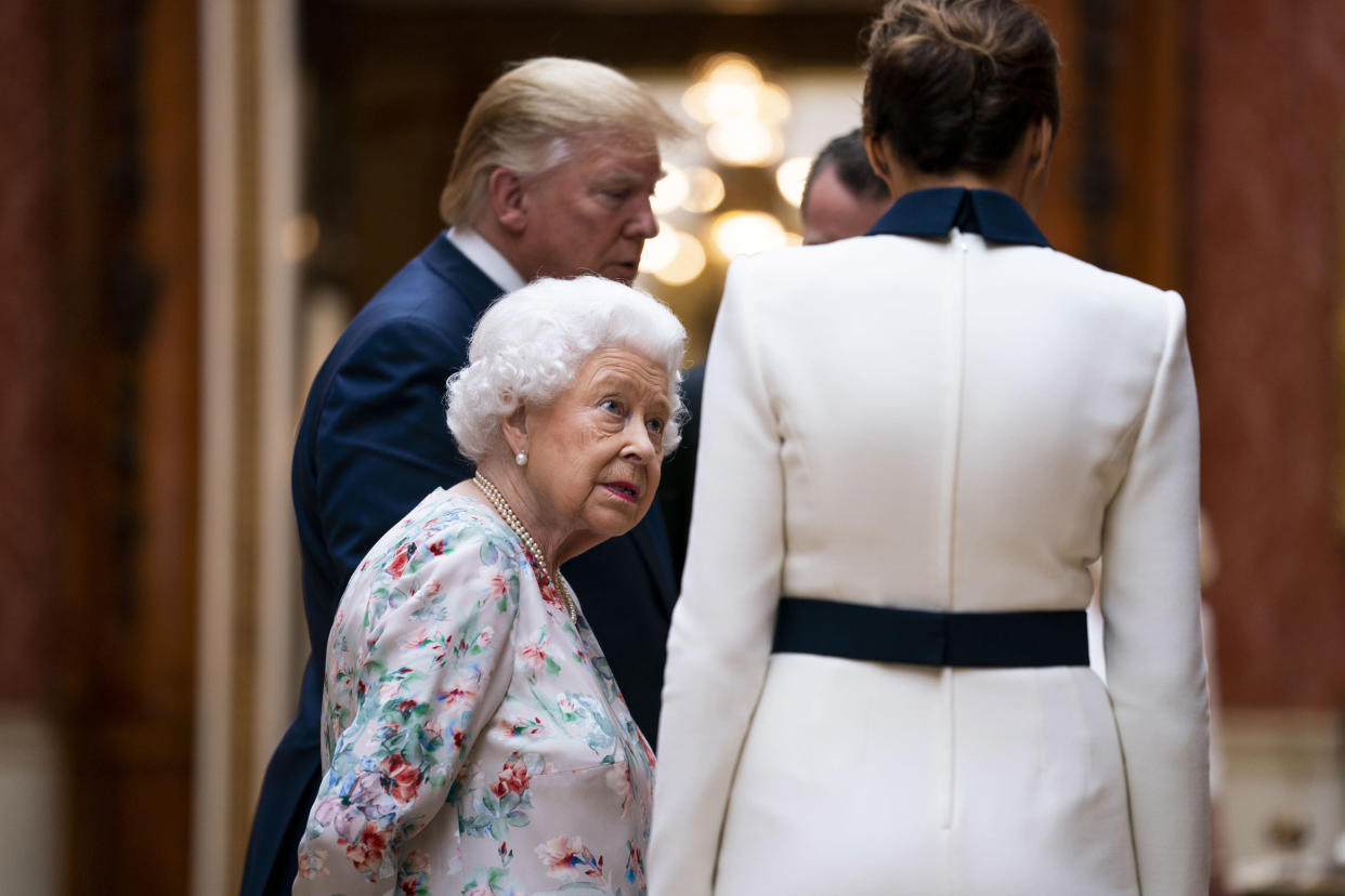 Queen Elizabeth with President Donald Trump and first lady Melania Trump at Buckingham Palace in London, June 3, 2019. (Doug Mills/The New York Times)