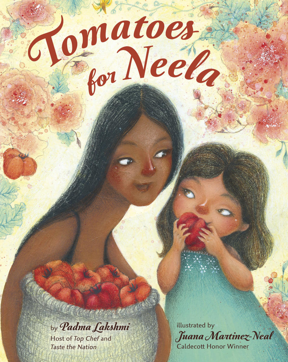 """This cover image released by Viking Books for Young Readers shows """"Tomatoes for Neela,"""" a children's book written by Padma Lakshmi, with illustrations by Juana Martinez-Neal. The book mixes the author's memories of cooking with her family with practical food advice, a nod to farmworkers and even a pair of recipes. (Viking Books for Young Readers via AP)"""