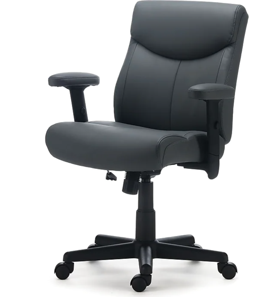 """<h2>Staples Traymore Luxura Manager's Chair</h2><br>If you miss the professional flare that comes with an office headquarters, then take a look at this totally sophisticated manager's chair from Staples. With over one thousand reviews and 4.5 out of 5 stars, we think the ratings can speak for themselves. <br><br><strong>The Hype</strong>: 4.5 out of 5 stars and 1,216 reviews<br><br><strong>WFH Pros Say</strong>: """"This chair was one of the lower-cost models I tried but checked every box. It's not too big so doesn't dominate the living room where I work. The armrests are adjustable which is helpful for shorter people. It has nice upper back support and good padding all over. I also like the soft grey color. A chair mat so I could roll on the carpet made this chair perfect.""""<br><br><em>Shop</em> <strong><em><a href=""""http://staples.com"""" rel=""""nofollow noopener"""" target=""""_blank"""" data-ylk=""""slk:Staples"""" class=""""link rapid-noclick-resp"""">Staples</a></em></strong><br><br><strong>Staples</strong> Traymore Luxura Managers Chair, $, available at <a href=""""https://go.skimresources.com/?id=30283X879131&url=https%3A%2F%2Fwww.staples.com%2Fstaples-traymore-luxura-managers-chair-gray-53246%2Fproduct_24328574"""" rel=""""nofollow noopener"""" target=""""_blank"""" data-ylk=""""slk:Staples"""" class=""""link rapid-noclick-resp"""">Staples</a>"""