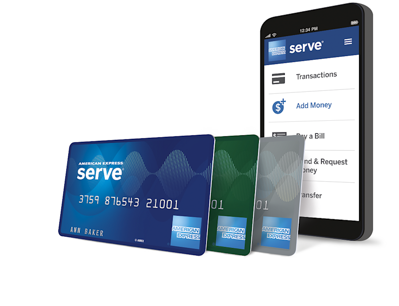 American Express Serve cards and mobile app.