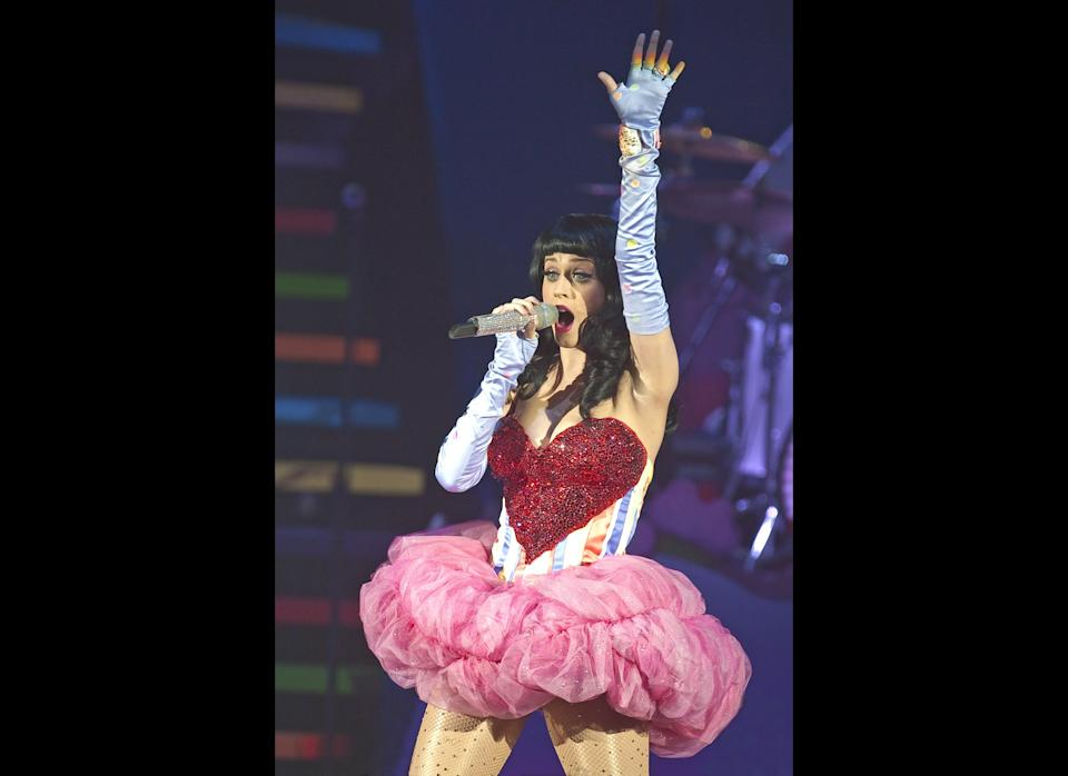 Katy Perry performs on the opening night of her 'California Dreams' UK tour at Hammersmith Apollo on March 17, 2011 in London, England. (Photo by Neil Lupin/Getty Images)