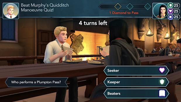 Screenshot of Murphy McNully eating in the great hall in Hogwarts Mystery game