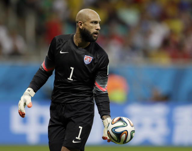Tim Howard, shown here playing for the United States against Belgium at the 2014 World Cup, announced that he will retire later this year. (Associated Press)