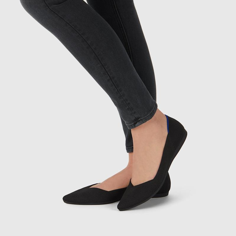 Rothy's Pointed Toe Flat in black solid