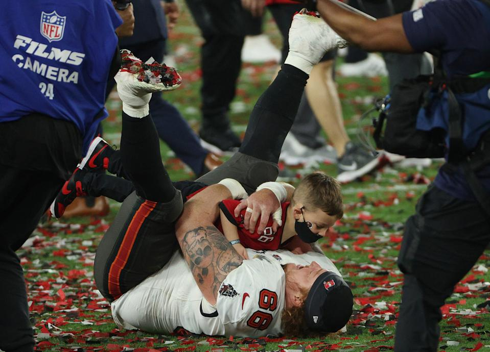 Ryan Jensen of the Tampa Bay Buccaneers celebrates winning Super Bowl LV at Raymond James Stadium on February 07, 2021 in Tampa, Florida. (Photo by Patrick Smith/Getty Images)