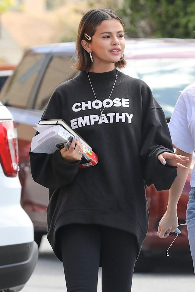 "<p>Perhaps the ""Wolves"" singer, who attended the March for Our Lives protest, was sending a message to the world with her sweatshirt that read ""Choose Empathy"" on Sunday as she went to lunch with friends following church. (Photo: Backgrid) </p>"