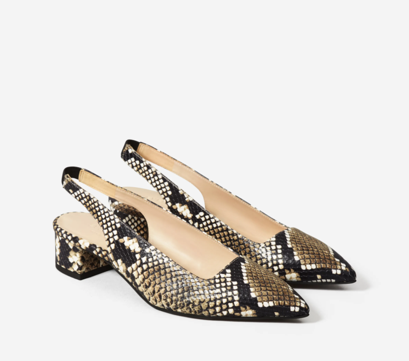 The Editor Slingback Heel in Snake. Image via Everlane.