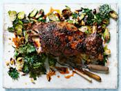 "It's easy to make this impressive Rosh Hashanah roast. Rub the lamb with a mix that includes fennel, cumin, garlic, oregano, and brown sugar, then roast for a few hours at 350°. <a href=""https://www.epicurious.com/recipes/food/views/slow-roasted-lamb-shoulder-with-brussels-sprouts-and-crispy-kale-56390088?mbid=synd_yahoo_rss"" rel=""nofollow noopener"" target=""_blank"" data-ylk=""slk:See recipe."" class=""link rapid-noclick-resp"">See recipe.</a>"