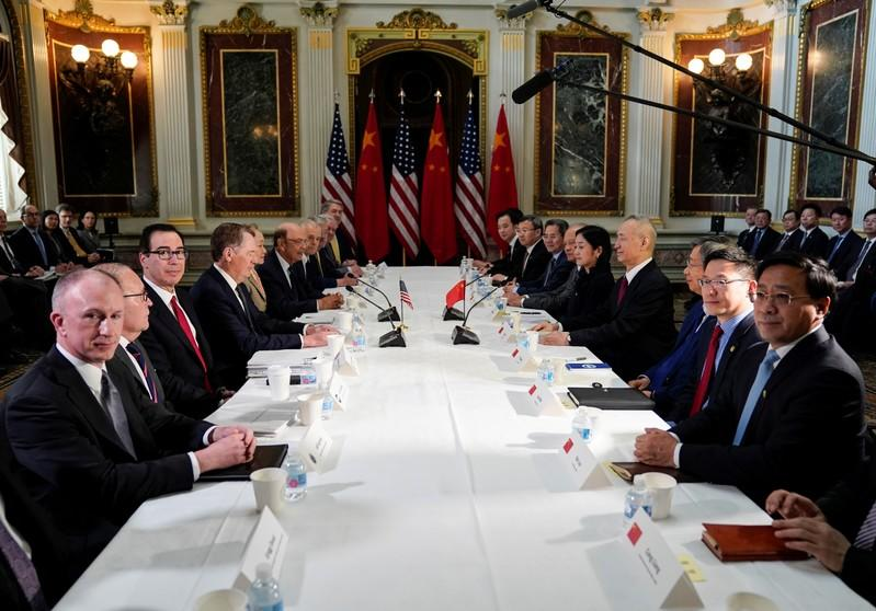 U.S.-China trade delegations hold trade talks at the White House in Washington