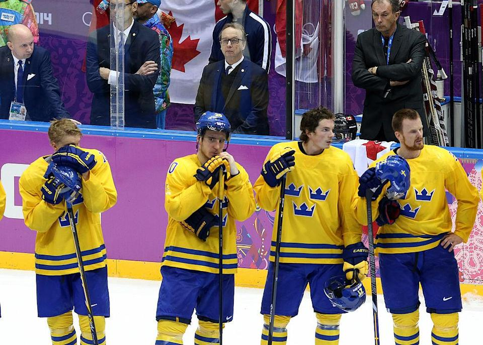 SOCHI, RUSSIA – FEBRUARY 23: Head coach of Sweden Par Marts looks on during the medal ceremony of the Men's Ice Hockey Gold Medal match between Canada and Sweden on Day 16 of the 2014 Sochi Winter Olympics at Bolshoy Ice Dome on February 23, 2014 in Sochi, Russia. (Photo by John Berry/Getty Images)