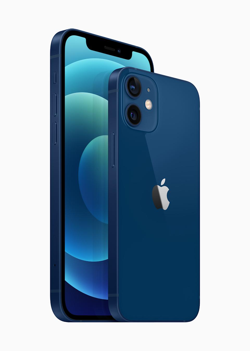 The elevated new design of the 6.1-inch iPhone 12 and 5.4-inch iPhone 12 mini feature edge-to-edge Super Retina XDR displays for an immersive viewing experience. (PHOTO: Apple)