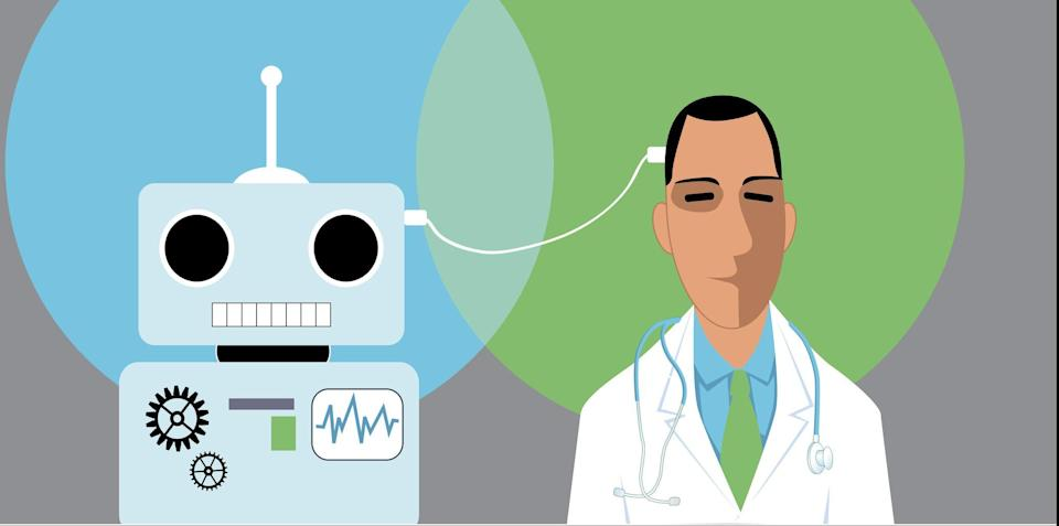 Doctor and robot connected with a wire, EPS 8 vector illustration