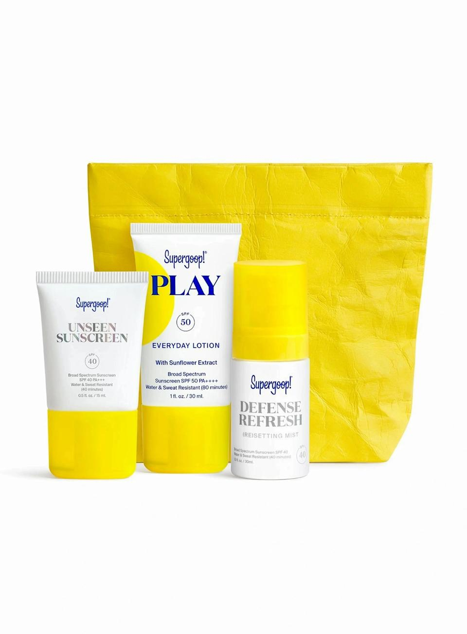 """<h2>Supergoop! SPF From Head To Toe Kit</h2><br>Going somewhere sunny? Don't ruin your tropical beach vacay by neglecting your skin and instead, pack this one-and-done bestselling Supergoop! SPF kit. <br><br><em>Shop</em> <strong><em><a href=""""http://supergoop.com"""" rel=""""nofollow noopener"""" target=""""_blank"""" data-ylk=""""slk:Supergoop!"""" class=""""link rapid-noclick-resp"""">Supergoop!</a></em></strong><br><br><strong>Supergoop!</strong> SPF from Head-to-Toe Kit, $, available at <a href=""""https://go.skimresources.com/?id=30283X879131&url=https%3A%2F%2Fsupergoop.com%2Fproducts%2Fspf-from-head-to-toe-kit"""" rel=""""nofollow noopener"""" target=""""_blank"""" data-ylk=""""slk:Supergoop!"""" class=""""link rapid-noclick-resp"""">Supergoop!</a>"""