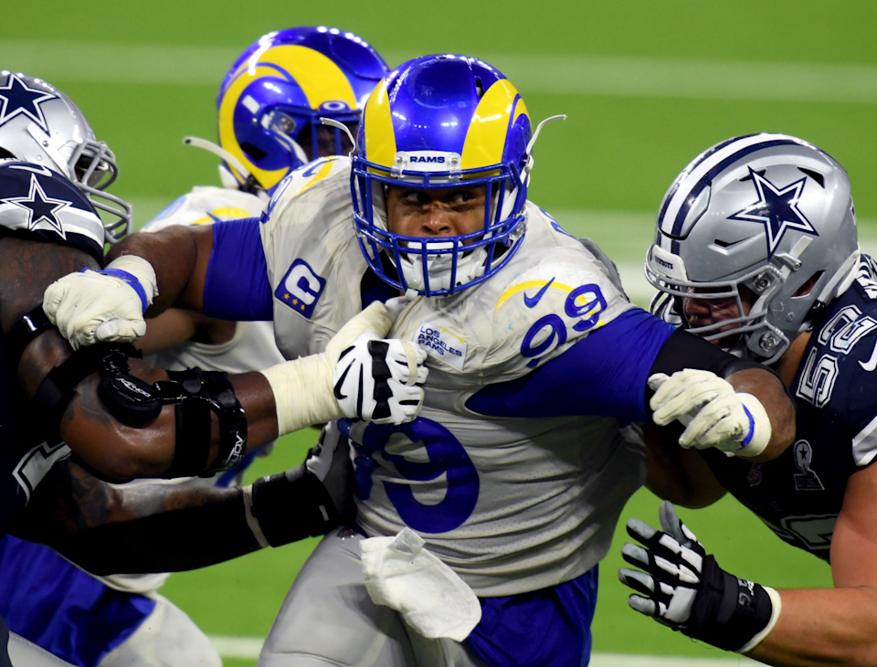 Rams' Aaron Donald rushes during a 20-17 win over the Dallas Cowboys.